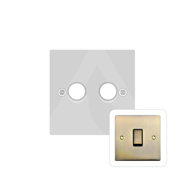 Elite Flat Plate Range 2 Gang Trailing Edge Dimmer in Antique Brass - Trimless - T91.972.TED
