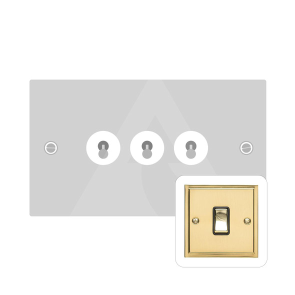 Elite Stepped Plate Range 3 Gang Dolly Switch in Polished Brass - Trimless - S01.1420.PB