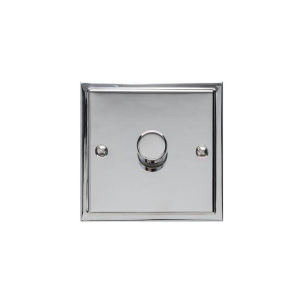Elite Stepped Plate Range 1 Gang Trailing Edge Dimmer in Polished Chrome - Trimless - S02.971.TED