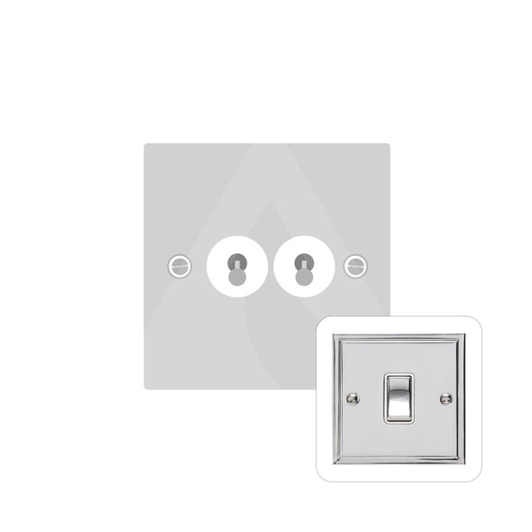 Elite Stepped Plate Range 2 Gang Dolly Switch in Polished Chrome - Trimless - S02.1410.PC