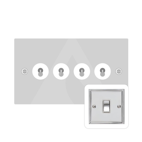 Elite Stepped Plate Range 4 Gang Dolly Switch in Polished Chrome - Trimless - S02.1430.PC