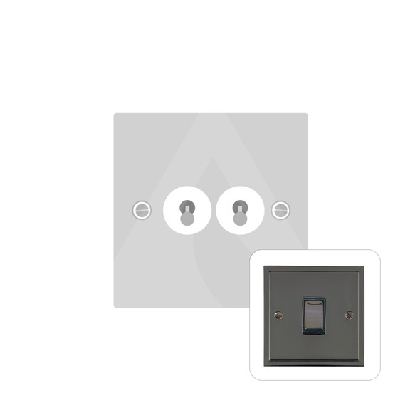 Elite Stepped Plate Range 2 Gang Dolly Switch in Polished Black Nickel - Trimless - S06.1410.BN