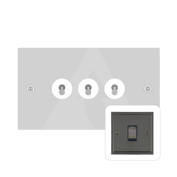 Elite Stepped Plate Range 3 Gang Dolly Switch in Polished Black Nickel - Trimless - S06.1420.BN