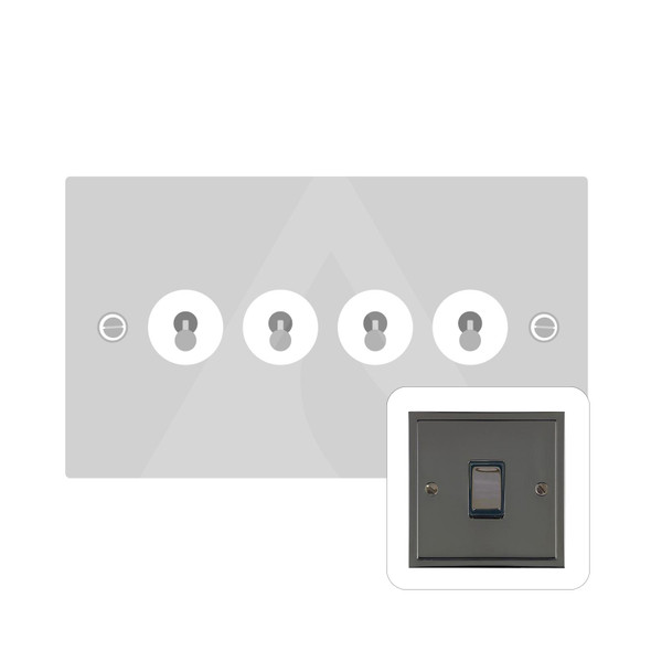 Elite Stepped Plate Range 4 Gang Dolly Switch in Polished Black Nickel - Trimless - S06.1430.BN
