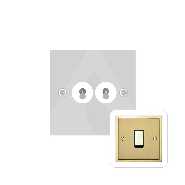 Elite Stepped Plate Range 2 Gang Dolly Switch in Satin Brass - Trimless - S04.1410.PB