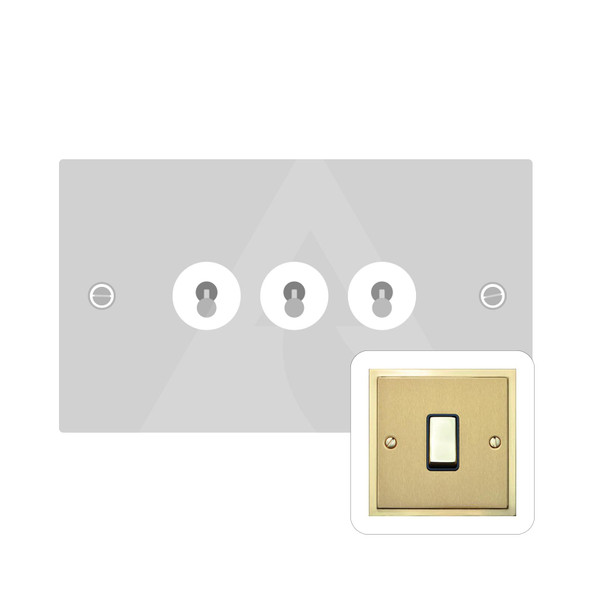 Elite Stepped Plate Range 3 Gang Dolly Switch in Satin Brass - Trimless - S04.1420.PB