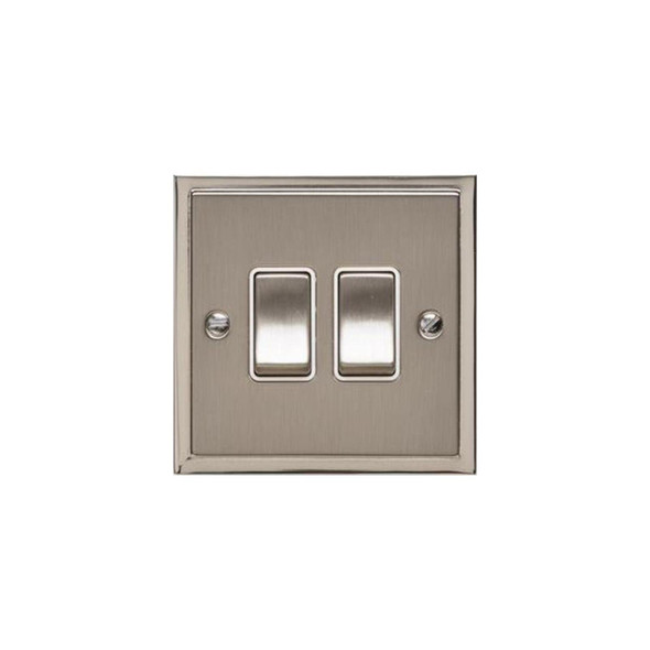 Elite Stepped Plate Range 2 Gang Switch (10 Amp) in Satin Nickel - White Trim - S05.810.SNW