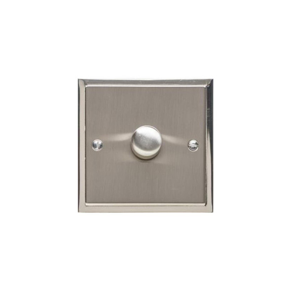 Elite Stepped Plate Range 1 Gang Trailing Edge Dimmer in Satin Nickel - Trimless - S05.971.TED