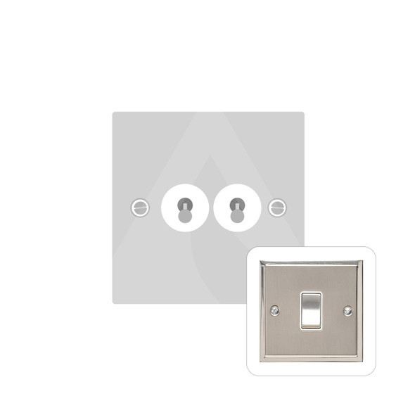 Elite Stepped Plate Range 2 Gang Dolly Switch in Satin Nickel - Trimless - S05.1410.SN