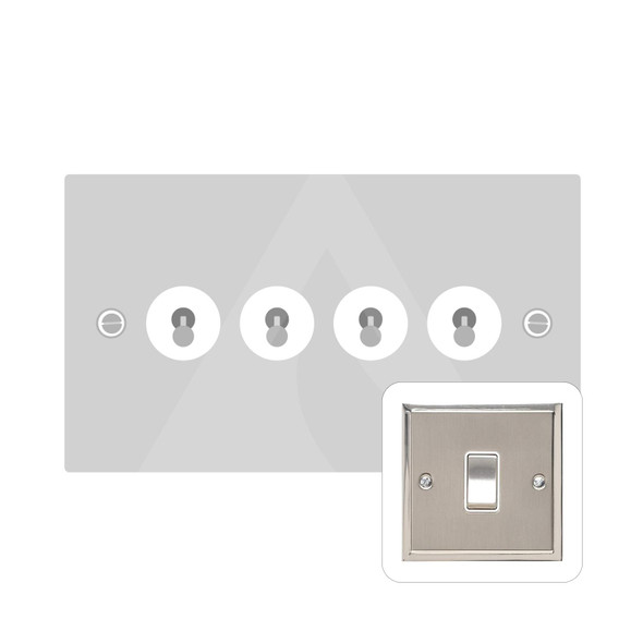 Elite Stepped Plate Range 4 Gang Dolly Switch in Satin Nickel - Trimless - S05.1430.SN