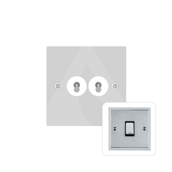 Elite Stepped Plate Range 2 Gang Dolly Switch in Satin Chrome - Trimless - S03.1410.PC