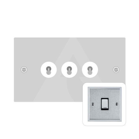 Elite Stepped Plate Range 3 Gang Dolly Switch in Satin Chrome - Trimless - S03.1420.PC