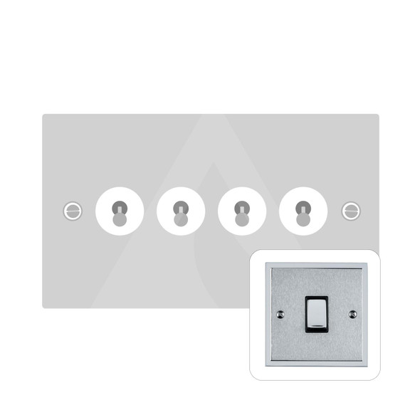 Elite Stepped Plate Range 4 Gang Dolly Switch in Satin Chrome - Trimless - S03.1430.PC