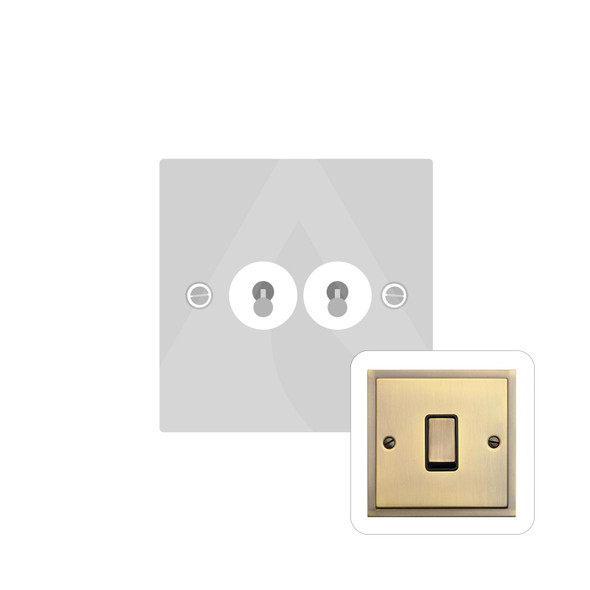 Elite Stepped Plate Range 2 Gang Dolly Switch in Antique Brass - Trimless - S91.1410.AB