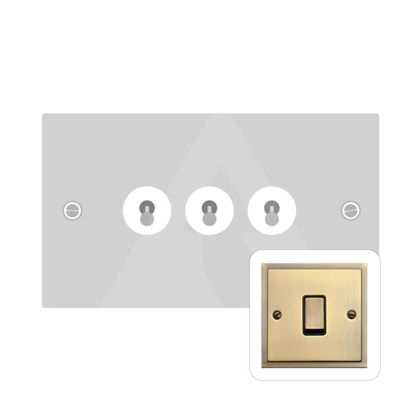 Elite Stepped Plate Range 3 Gang Dolly Switch in Antique Brass - Trimless - S91.1420.AB