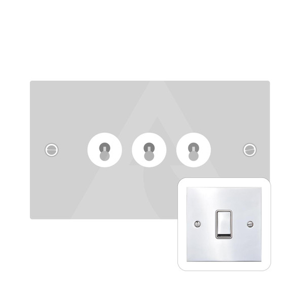 Bauhaus Range 3 Gang Dolly Switch in Polished Chrome - Trimless - BH2.1420.PC