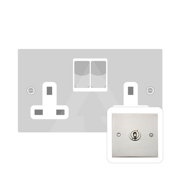 Bauhaus Range Double Socket (13 Amp) in Satin Nickel - White Trim - BH5.150.SNW