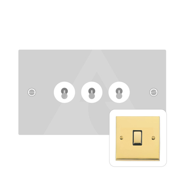 Victorian Elite Range 3 Gang Dolly Switch in Polished Brass - Trimless - R01.1420.PB