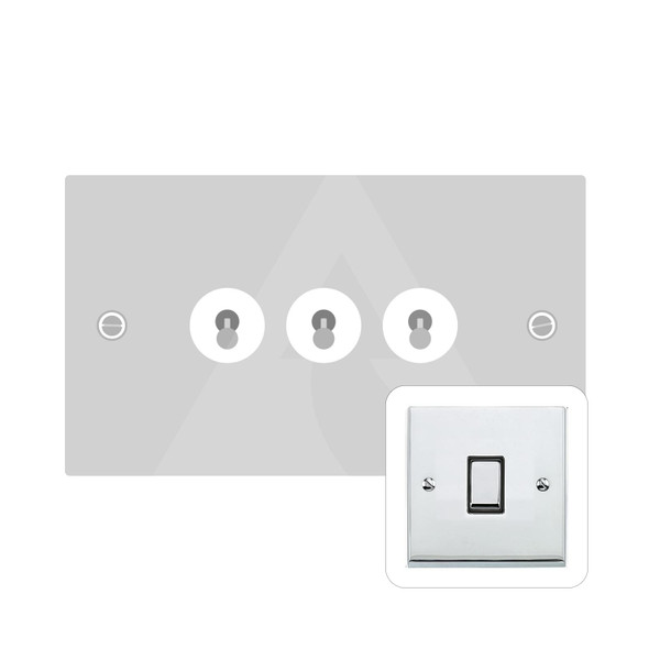 Victorian Elite Range 3 Gang Dolly Switch in Polished Chrome - Trimless - R02.1420.PC