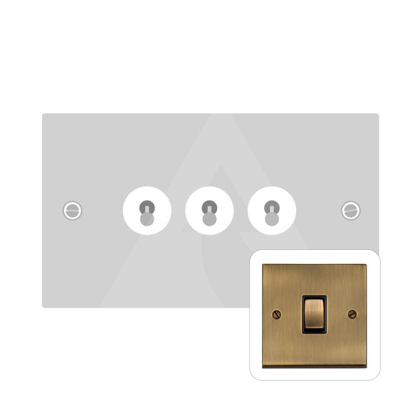 Victorian Elite Range 3 Gang Dolly Switch in Antique Brass - Trimless - R91.1420.AB