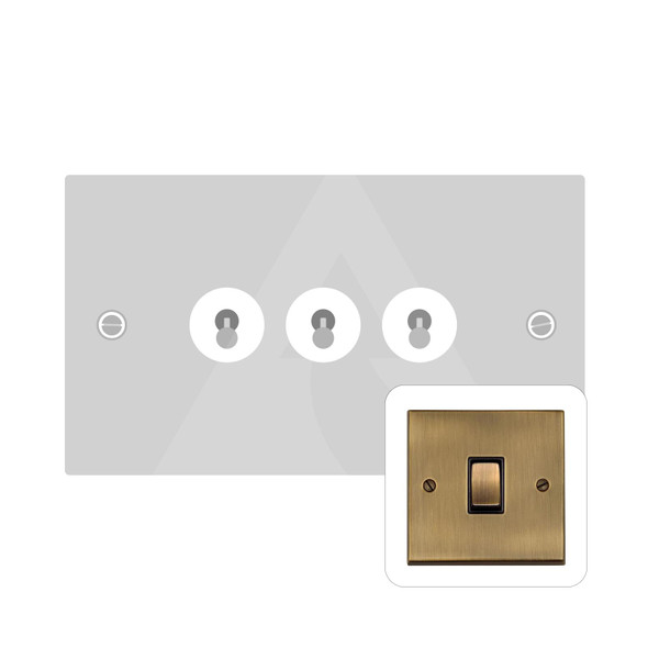 Richmond Elite Low Profile Range 3 Gang Dolly Switch in Antique Brass - Trimless - LP91.1420.AB
