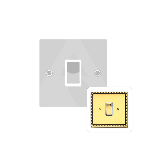 Contractor Range 1 Gang Switch (6 Amp) in Polished Brass - White Trim - G991W