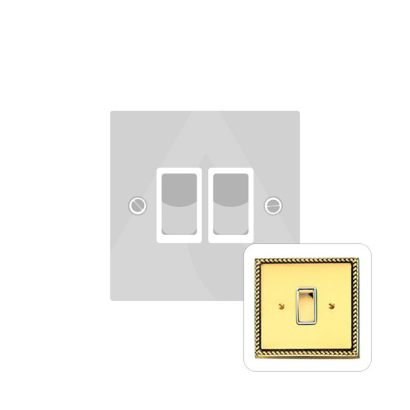 Contractor Range 2 Gang Switch (6 Amp) in Polished Brass - White Trim - G992W