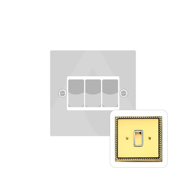 Contractor Range 3 Gang Switch (6 Amp) in Polished Brass - White Trim - G993W