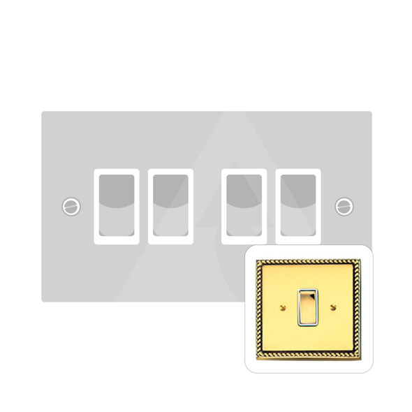 Contractor Range 4 Gang Switch (6 Amp) in Polished Brass - White Trim - G994W