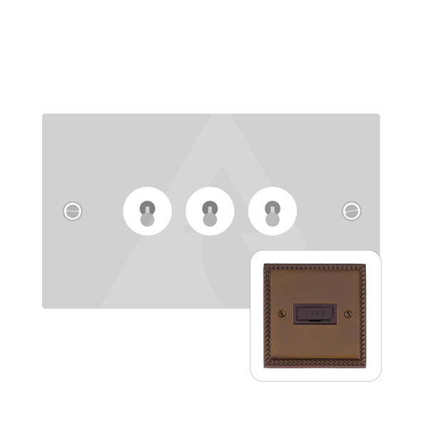 Contractor Range 3 Gang Dolly Switch in Polished Bronze - Trimless - BZG1420BZ