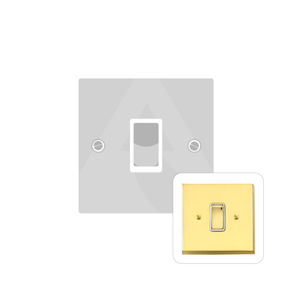 Contractor Range 1 Gang Switch (6 Amp) in Polished Brass - White Trim - V991W