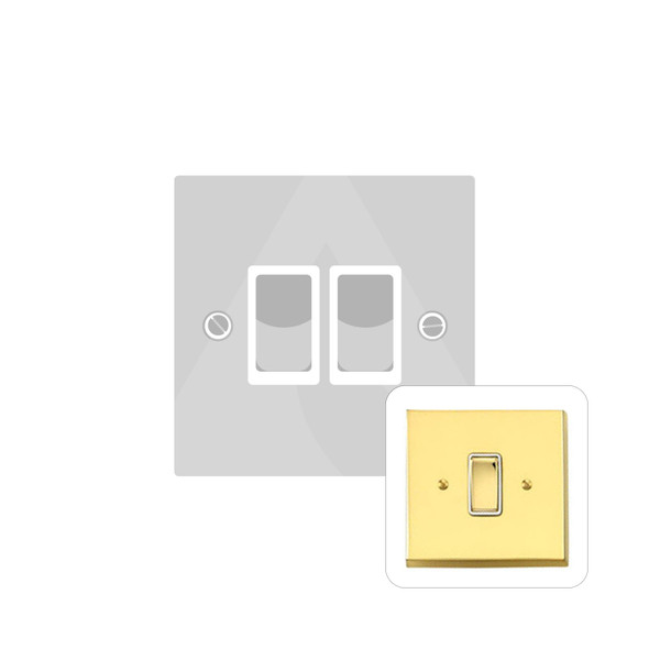 Contractor Range 2 Gang Switch (6 Amp) in Polished Brass - White Trim - V992W