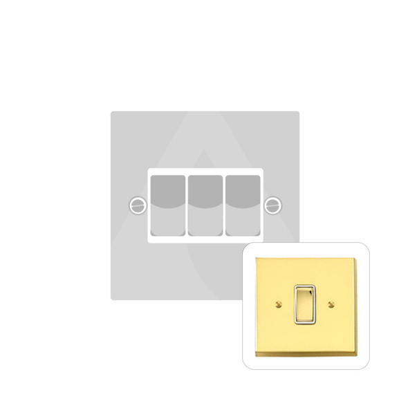 Contractor Range 3 Gang Switch (6 Amp) in Polished Brass - White Trim - V993W