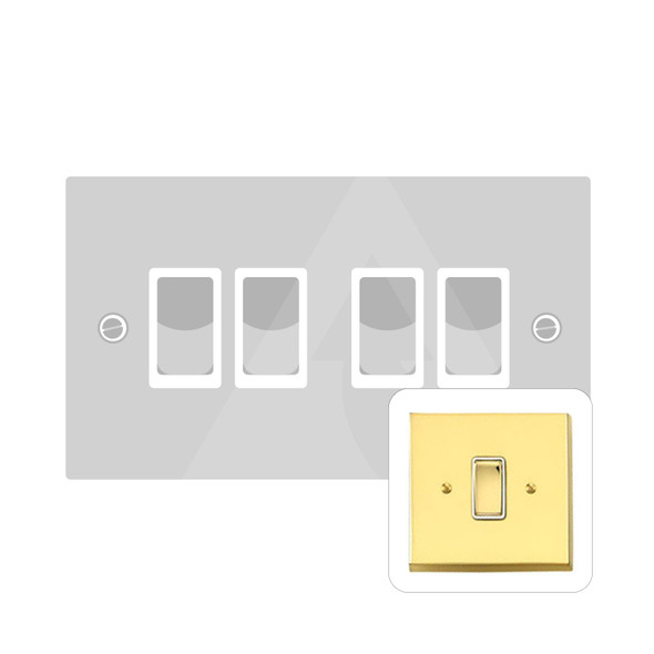 Contractor Range 4 Gang Switch (6 Amp) in Polished Brass - White Trim - V994W