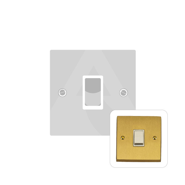 Contractor Range 1 Gang Switch (6 Amp) in Satin Brass - White Trim - SAB991W