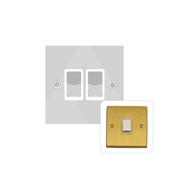 Contractor Range 2 Gang Switch (6 Amp) in Satin Brass - White Trim - SAB992W