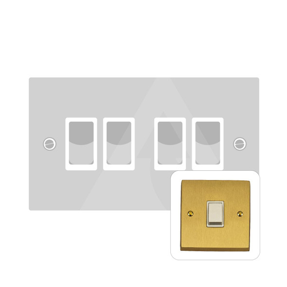Contractor Range 4 Gang Switch (6 Amp) in Satin Brass - White Trim - SAB994W