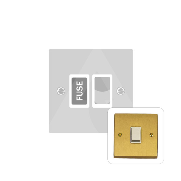 Contractor Range Switched Spur (13 Amp) in Satin Brass - White Trim - SAB935W