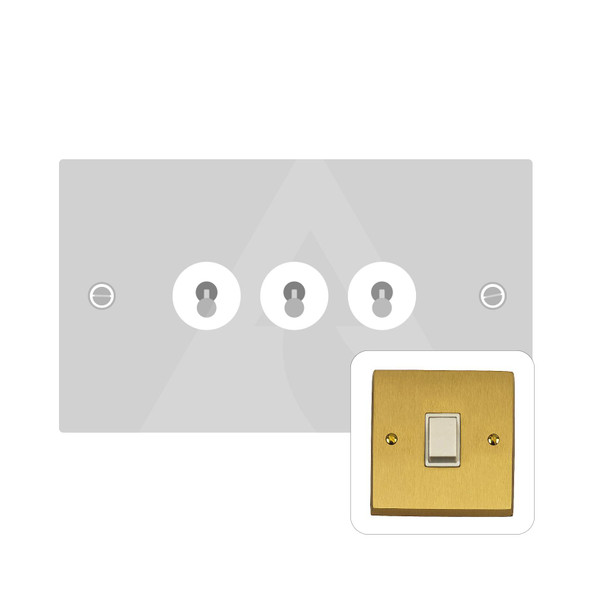 Contractor Range 3 Gang Dolly Switch in Satin Brass - Trimless - SAB1420SB
