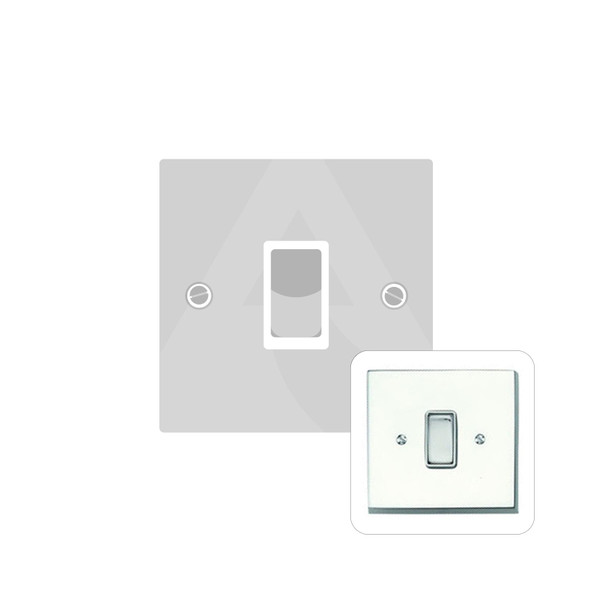 Contractor Range 1 Gang Switch (6 Amp) in Polished Chrome - White Trim - CR991W