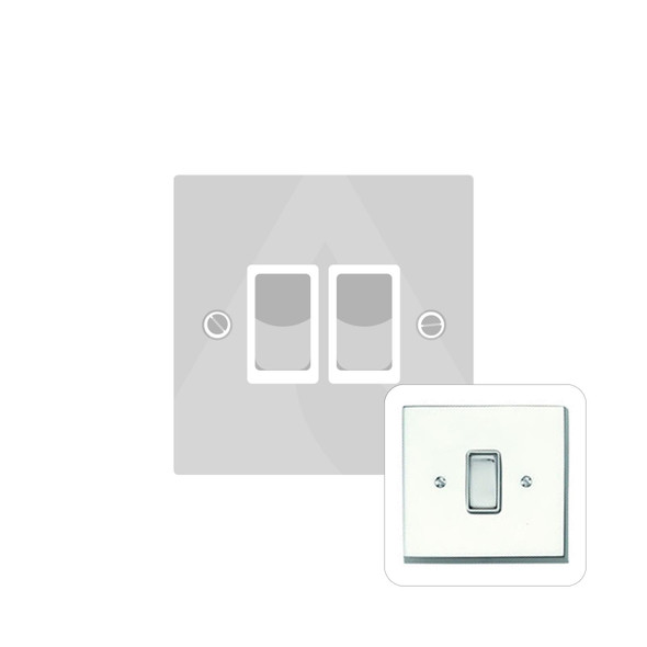 Contractor Range 2 Gang Switch (6 Amp) in Polished Chrome - White Trim - CR992W