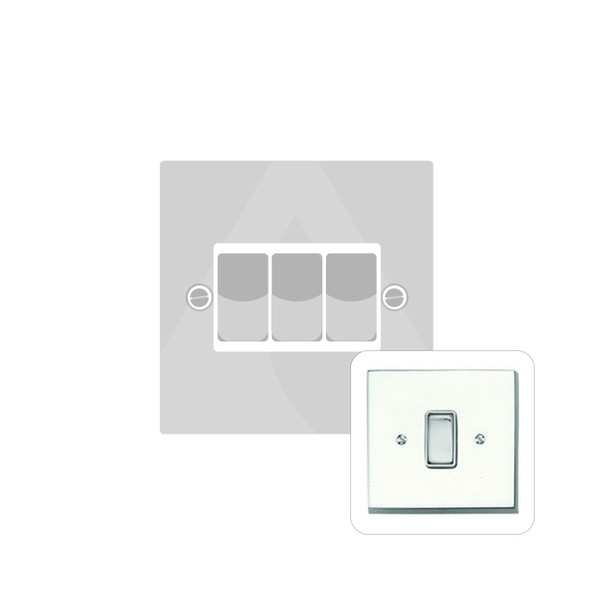 Contractor Range 3 Gang Switch (6 Amp) in Polished Chrome - White Trim - CR993W