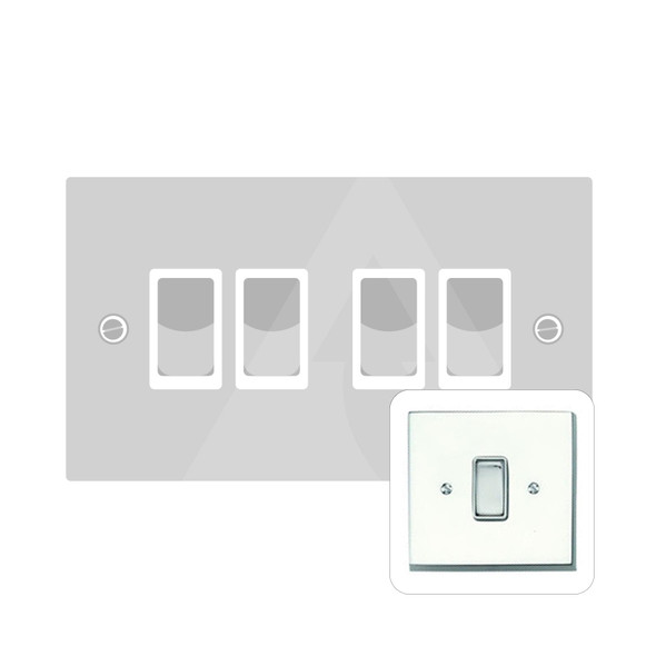 Contractor Range 4 Gang Switch (6 Amp) in Polished Chrome - White Trim - CR994W