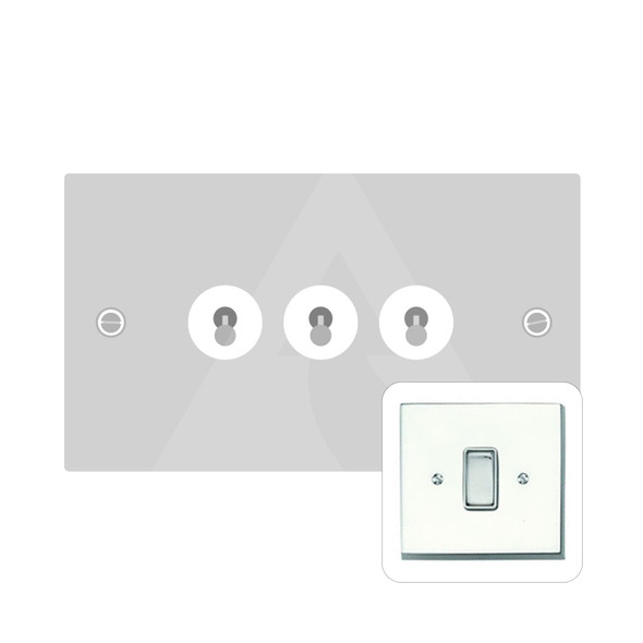 Harmony Grid Range 3 Gang Dolly Switch in Polished Chrome - Trimless - CR1420PC