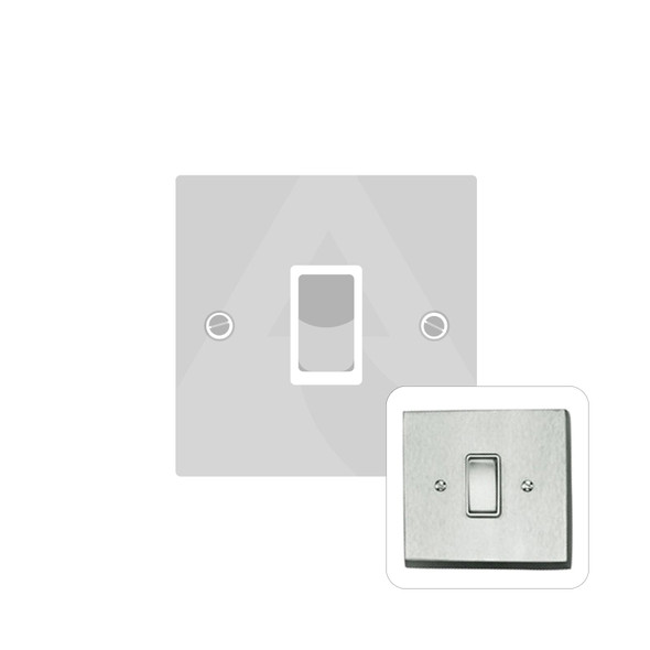 Contractor Range 1 Gang Switch (6 Amp) in Satin Chrome - White Trim - BC991W