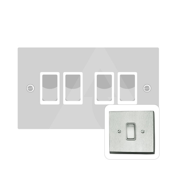 Contractor Range 4 Gang Switch (6 Amp) in Satin Chrome - White Trim - BC994W