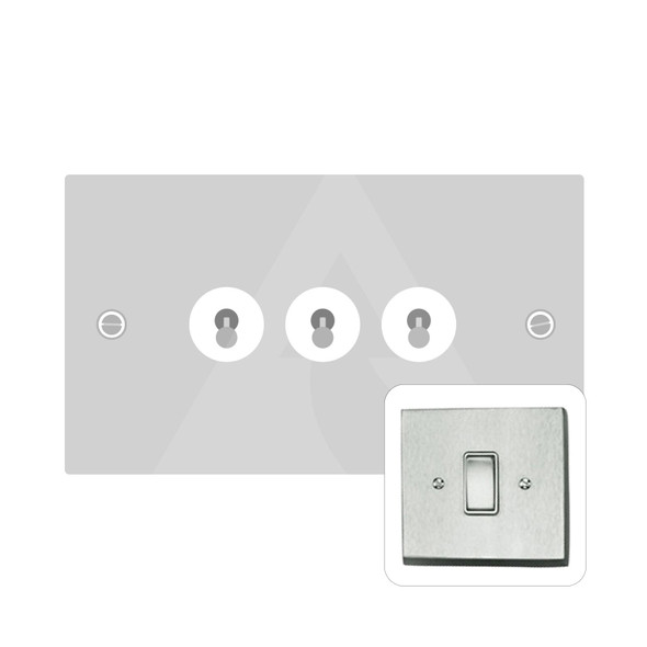 Harmony Grid Range 3 Gang Dolly Switch in Satin Chrome - Trimless - BC1420SC