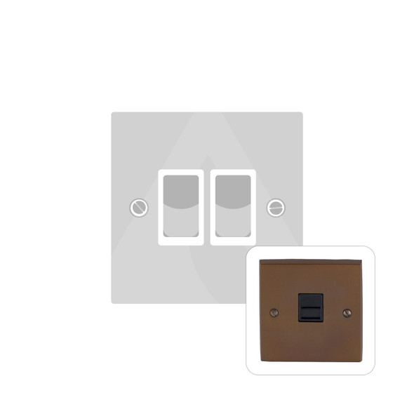 Contractor Range 2 Gang Switch (6 Amp) in Polished Bronze - Black Trim - BZV992BN
