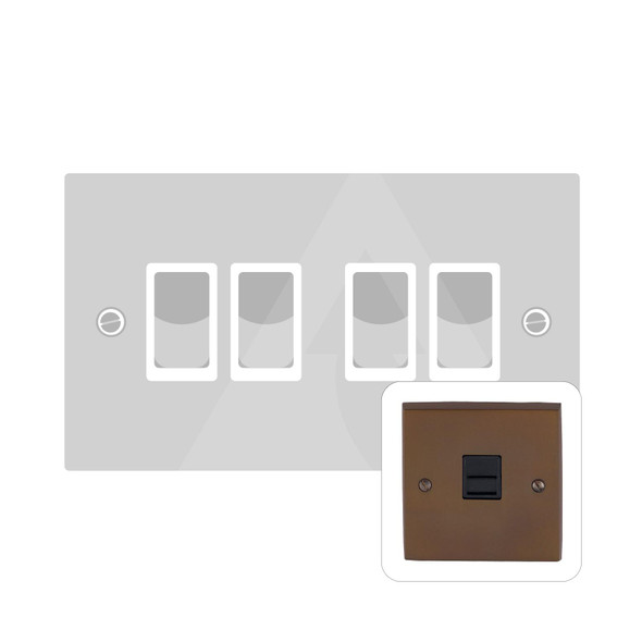 Contractor Range 4 Gang Switch (6 Amp) in Polished Bronze - Black Trim - BZV994BN
