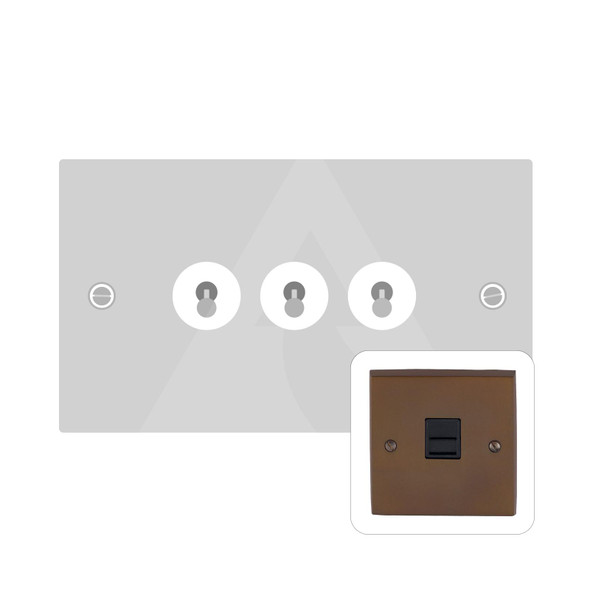 Contractor Range 3 Gang Dolly Switch in Polished Bronze - Trimless - BZV1420BZ